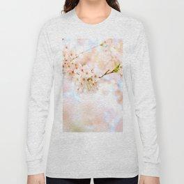 White Floral Photo White Cherry Blossoms Blurred Soft Feminine Art Long Sleeve T-shirt