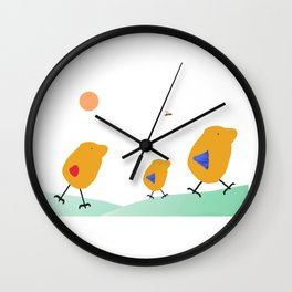Sunny Family Walking with Boy Wall Clock