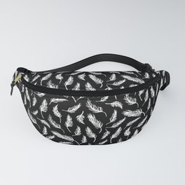 White Painted Feathers on Black Fanny Pack