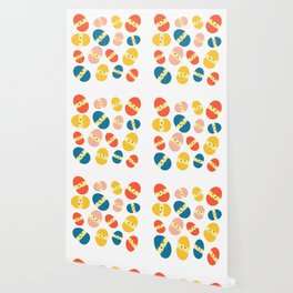 Multi Coloured Easter Eggs with Chicks - Yellow Orange Turquoise Pink Wallpaper