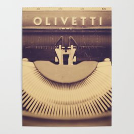 Vintage typewriter Olivetti, made in Italy Poster