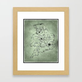 aged canal map Framed Art Print