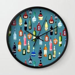 Liquor Bottles Pattern Wall Clock