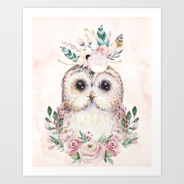 Forest Owl Floral Pink by Nature Magick Art Print