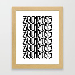 Zombies Zombies Zombies (White) Framed Art Print