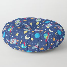 Fun Space Rockets and Aliens Floor Pillow