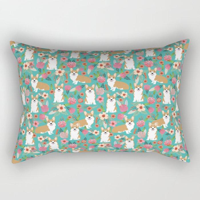 Corgi Florals - vintage corgi and florals gift gifts for dog lovers, corgi clothing,turquoise Rectangular Pillow