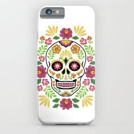 Mexican Folk Sugar Skull and Roses iPhone Case