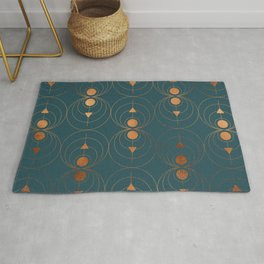 Copper Art Deco on Emerald Rug