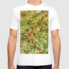 Impressionist Poppies MEDIUM White Mens Fitted Tee