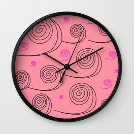 Artistic pink spirals Wall Clock