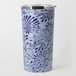 flowers and branches ,soft blue and silver accents Travel Mug