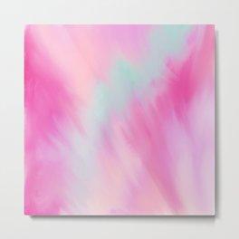 Modern artistic pink teal watercolor brushstrokes Metal Print