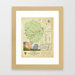 Yosemite National Park Map {Color Version} Print Framed Art Print