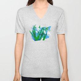 Digital Watercolor snowdrops Unisex V-Neck