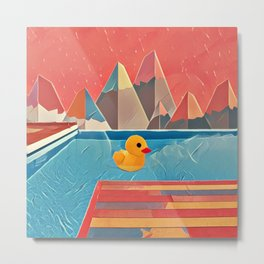Little duck in the pool Metal Print