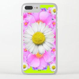 Chartreuse Green Color Shasta Daisies & Rose Pattern Clear iPhone Case