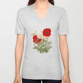 A country garden flower bouquet -poppies and daisies Unisex V-Neck