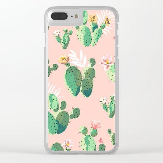 Vintage Cactus Pattern Clear iPhone Case