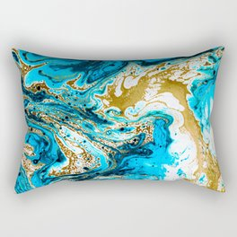 Abstract blue marbled paper Rectangular Pillow