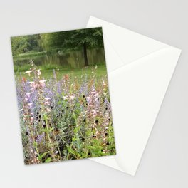 Flowers by the lake Stationery Cards