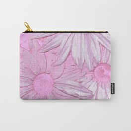Abstract modern pastel pink botanical daisies Carry-All Pouch