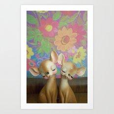 flower fawns Art Print