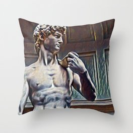 David from Michelangelo Artistic Illustration Relief Style Throw Pillow