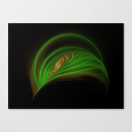 Gold Green Peacock Feather Canvas Print