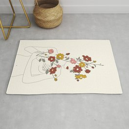 Colorful Thoughts Minimal Line Art Woman with Wild Roses Rug