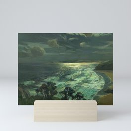Midnight Moonlight, St Ives' Bay nautical coastal landscape painting by Julius Olsson Mini Art Print