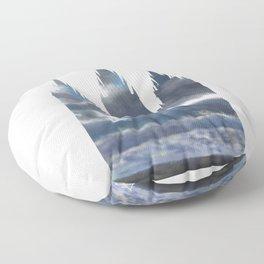 Salt Lake Temple Dramatic Sky Silhouette Floor Pillow