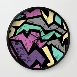 Abstraction. Colorful geometric pattern. Grunge. Wall Clock
