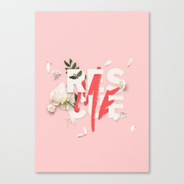 RESCUE ME | Digital typography floral poster pink Canvas Print