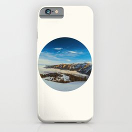 Mid Century Modern Round Circle Photo Rolling Snow Hills Distant Mountains iPhone Case