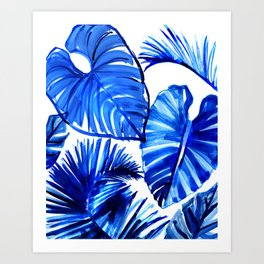 Bright Blue Jungle Leaves Art Print