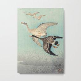 Geese flying in formation - Vintage Japanese Woodblock Print Art Metal Print