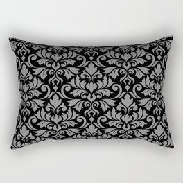 Flourish Damask Big Ptn Gray on Black Rectangular Pillow
