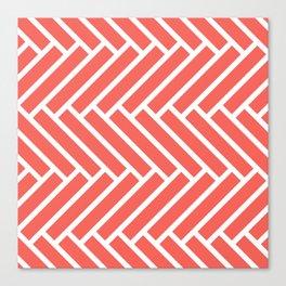 Bright coral and white herringbone pattern Canvas Print