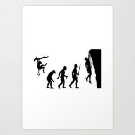 The Evolution Of Man And Rock Climbing Art Print