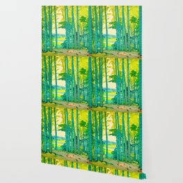 Yoshida Hiroshi Bamboo Grove Vintage Japanese Woodblock Print Bright Green Bamboo Landscape Forest Wallpaper