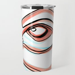 Abstract Open Eye Line Drawing with Red and Blue Travel Mug