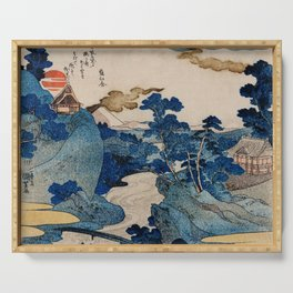 Cottages On Cliffs Traditional Japanese Landscape Serving Tray