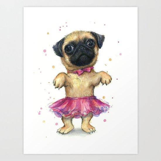 Pug in a Tutu Cute Animal Whimsical Dog Portrait Art Print