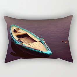 Chilling on a boat by the Ganges Rectangular Pillow
