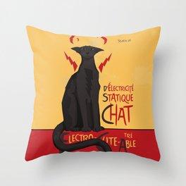 d'Electricité Statique Chat [Staticat] Throw Pillow