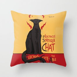 d'Electricité Statique Chat [Staticat] Throw Pillow
