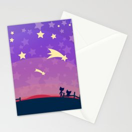 Starry sunset seen by cats Stationery Cards