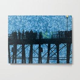 Pier Fishing Metal Print