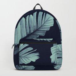 Navy Blue Banana Leaves Dream #2 #tropical #decor #art #society6 Backpack